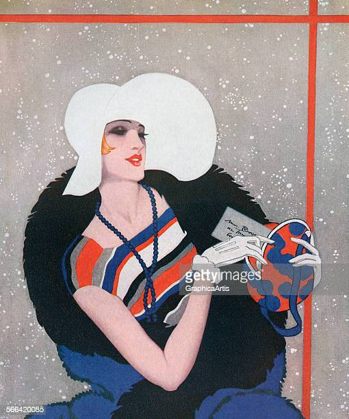 Vintage illustration of a fashionable flapper on her way to a party on a snowy evening screen print 1928