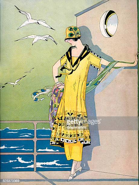 Vintage illustration of a fashionable flapper posing on the deck of a cruise ship lithograph 1920