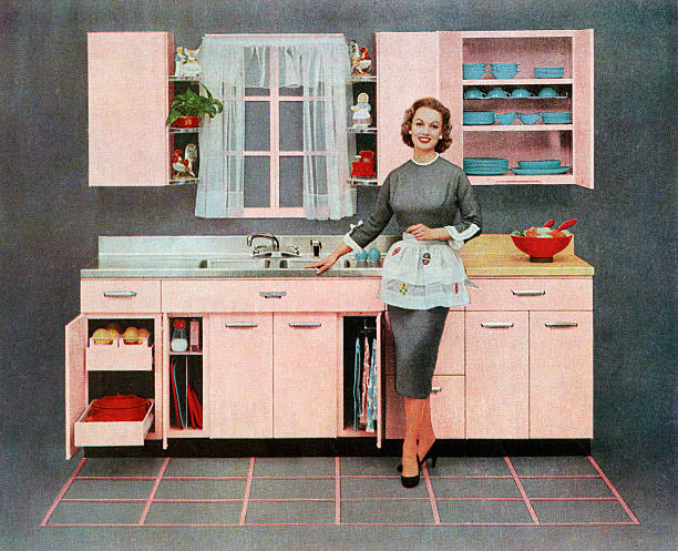 Housewife In Pink Kitchen Wall Art