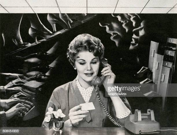 Vintage illustration of a female office worker on the phone distracted by noise in the office 1959 Screen print