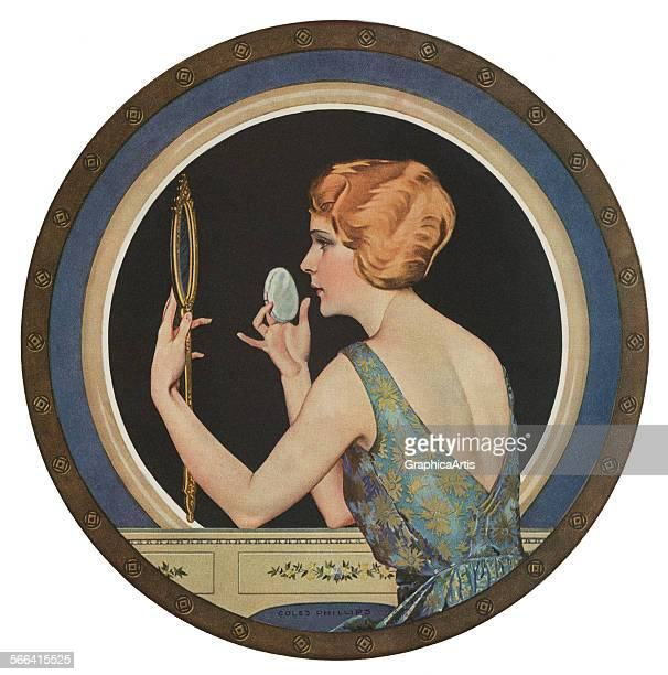 Vintage illustration of a flapper sitting at a vanity applying her makeup in the mirror screen print 1923