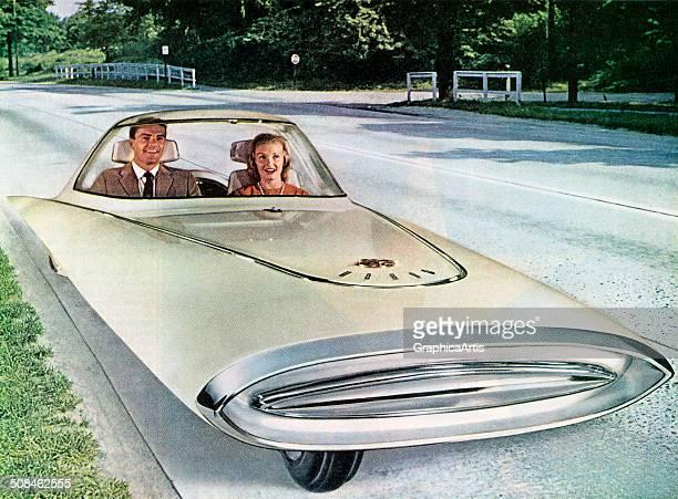 Vintage illustration of a futuristic 3wheeled selfdriving 'dream car' 1961