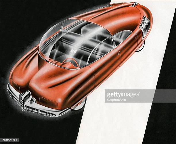 Vintage illustration of a futuristic car screen print 1930s