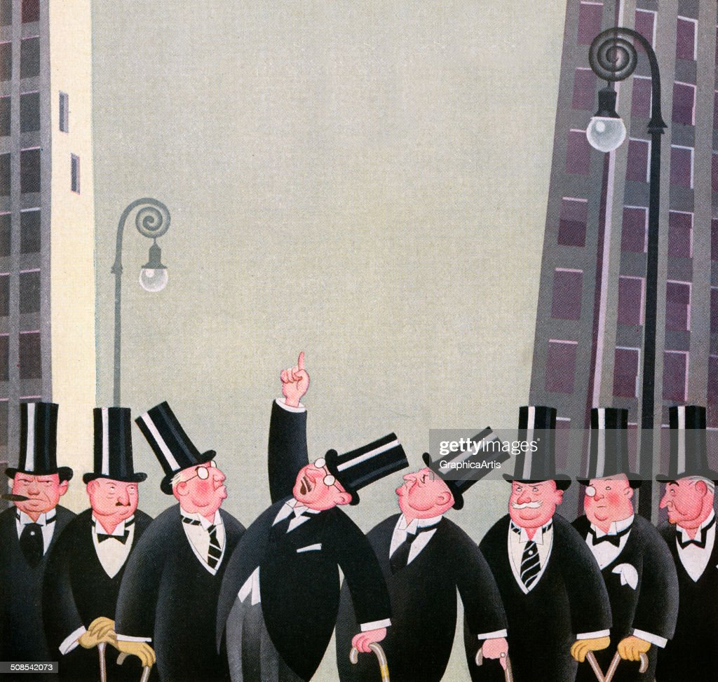 Vintage illustration of a group rich men wearing top hats on Wall Street, 1927.