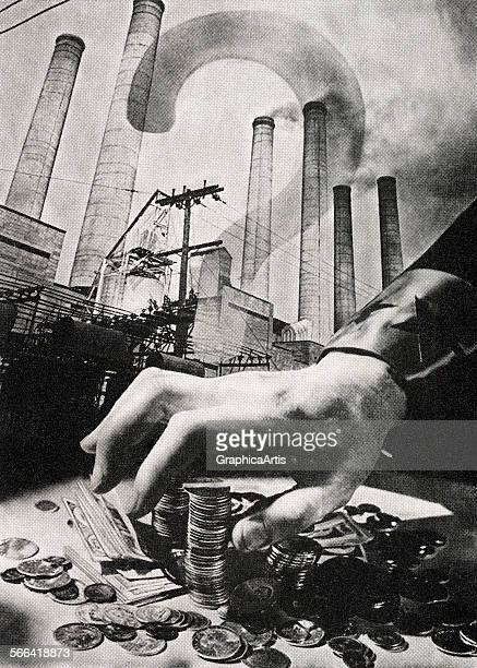 Vintage illustration of a hand reaching for money representing debt and borrowing screen print from a photographic montage 1937