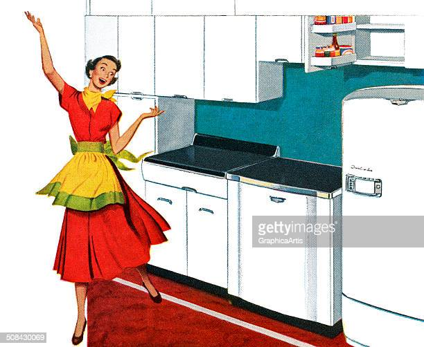 Vintage illustration of a happy housewife dancing in the kitchen of an American home 1944 Screen print