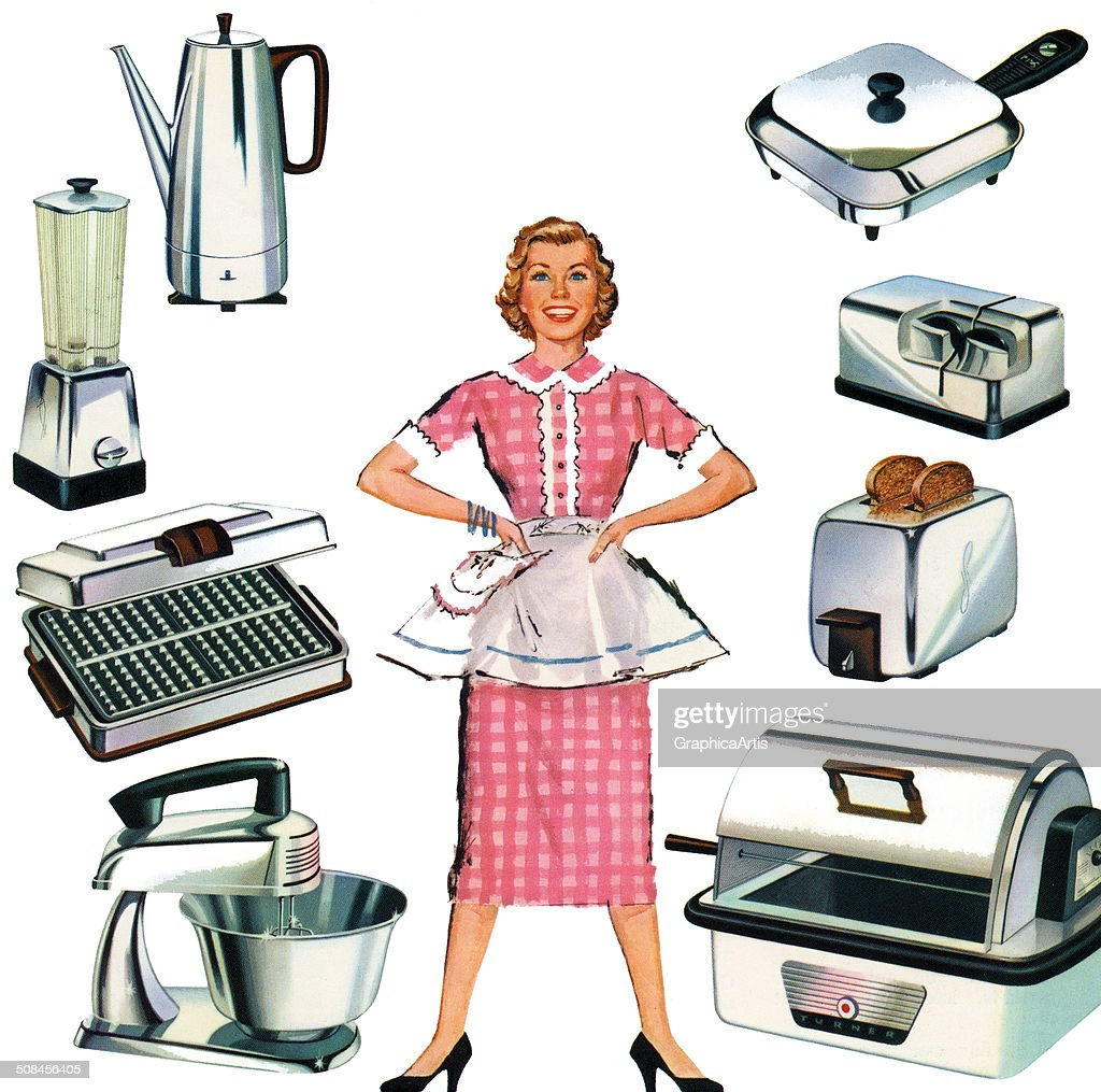 Vintage illustration of a happy housewife in her apron, surrounded by gleaming new stainless steel kitchen appliances, 1959. Screen print.