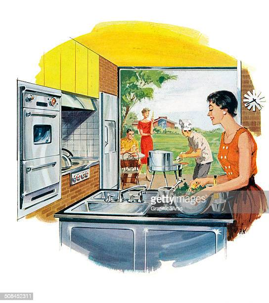 Vintage illustration of a happy housewife making salad in her new stainless steel kitchen while her husband grills outside on his barbeque with their...