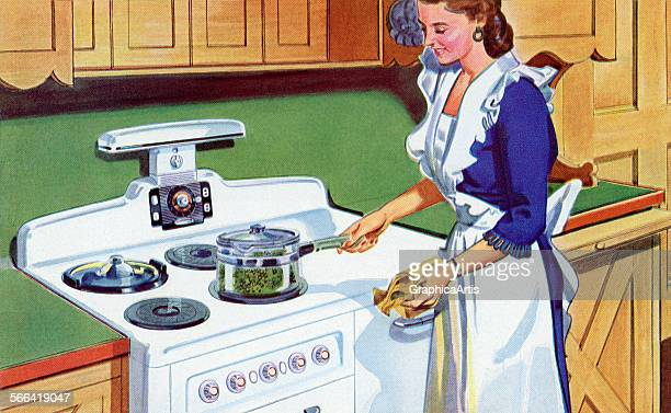 Vintage illustration of a housewife in an apron cooking peas on her stovetop screen print 1944
