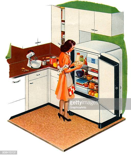 Vintage illustration of a housewife putting food into open refrigerator of an American home 1944 Screen print