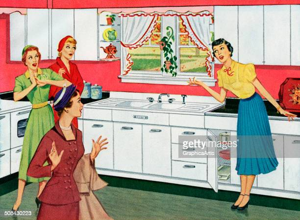 Vintage illustration of a housewife showing off her brand new kitchen to her neighbor friends 1950 Screen print