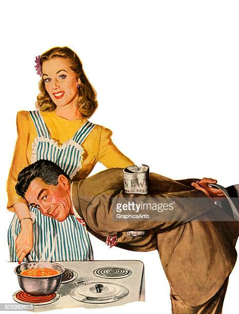 Vintage illustration of a husband smelling a savory pot of soup that his wife has proudly prepared for dinner screen print 1944