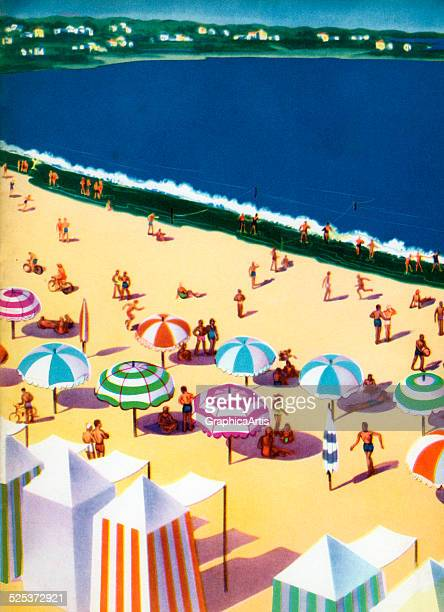 Vintage illustration of a lido beach with cabanas and umbrellas; lithograph, 1949.
