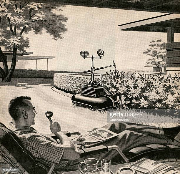 Vintage illustration of a man relaxing in a lawn chair while giving remote commands to his 'electric gardener' which is trimming a hedge and mowing...