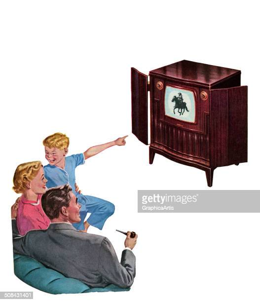 Vintage illustration of a mother and father with their son watching a Western television show on their new console TV 1950 Screen print