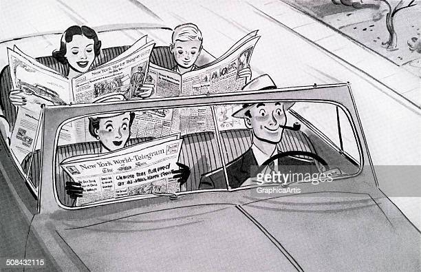 Vintage illustration of a nuclear family driving in a car with the father driving while the mother and two children read newspapers 1951 Screen print