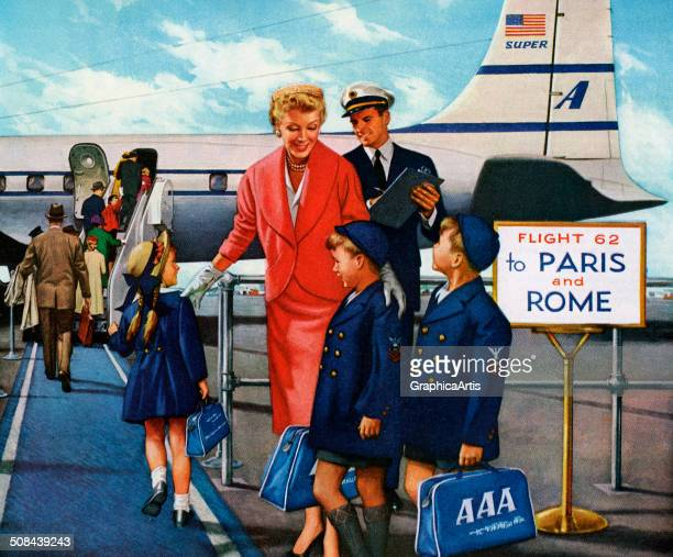 Vintage illustration of a pilot greeting a mother and her three children as they board an international flight to Paris and Rome 1955 Screen print