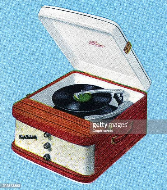 Vintage illustration of a portable record player screen print 1950s