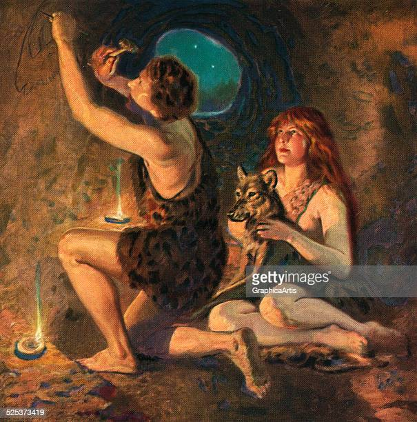 Vintage illustration of a Prehistoric caveman creating man's first artwork in a dark cave screen print 1925