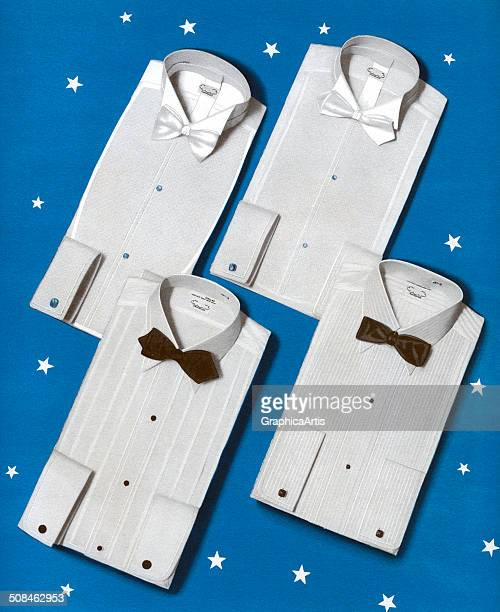 Vintage illustration of a sales display of starched and folded men's formal shirts with black and white bow ties 1940s Screen print