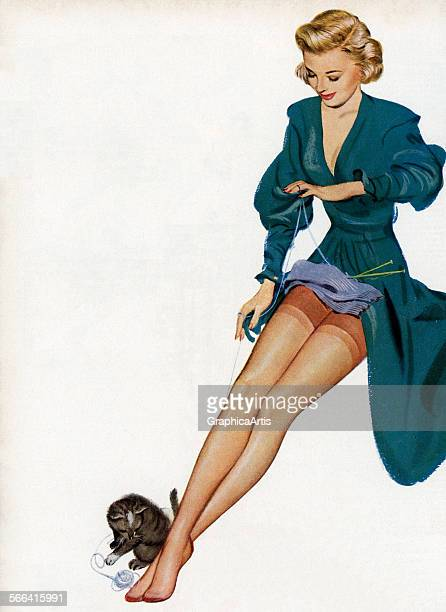 Vintage illustration of a sexy woman showing off her nylons while knitting screen print 1949