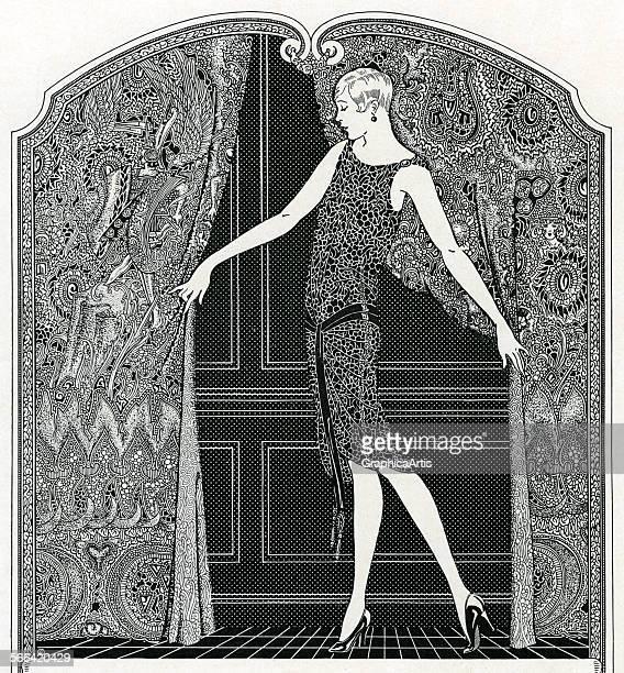 Vintage illustration of a slender flapper posed opening curtains engraving 1923