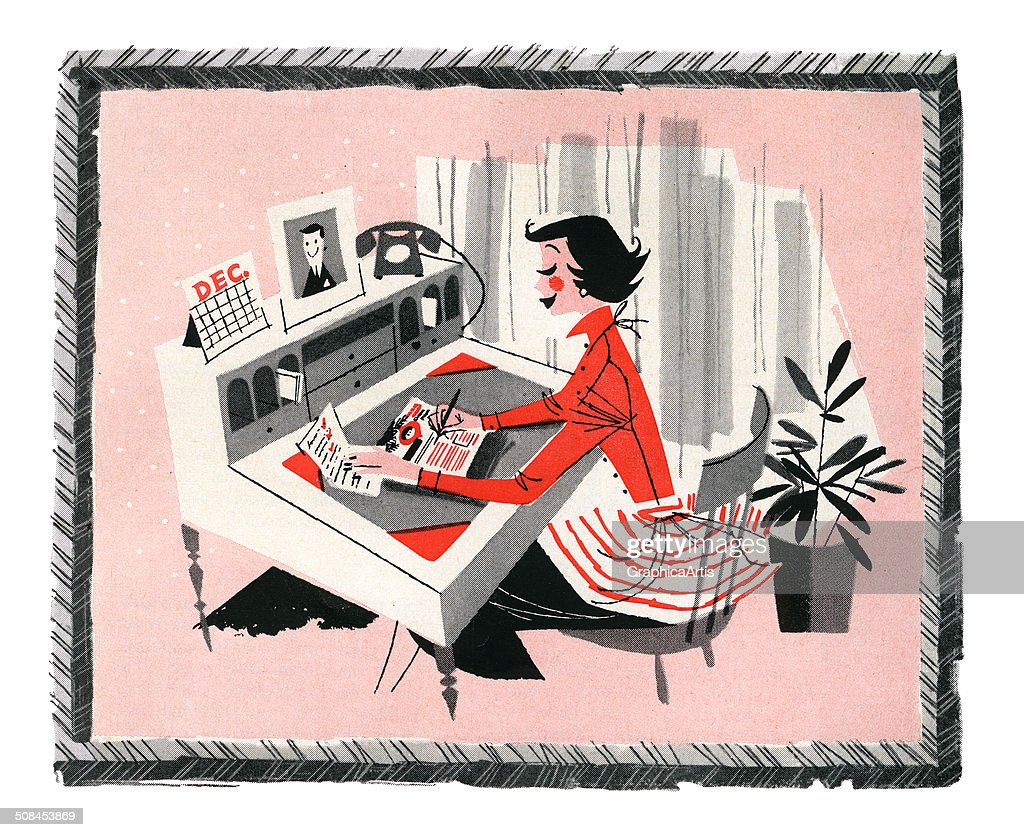 Vintage illustration of a smart shopper sitting at her desk at home, making a shopping list for Christmas, 1957. Screen print, 1957.