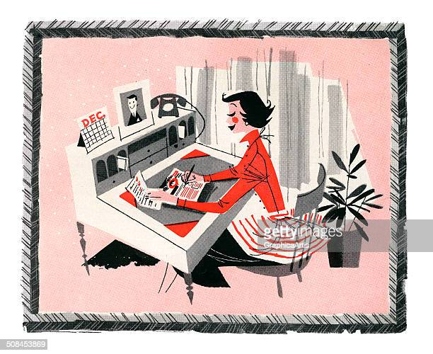 Vintage illustration of a smart shopper sitting at her desk at home making a shopping list for Christmas 1957 Screen print 1957