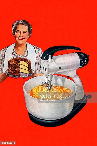 Vintage illustration of a stand mixer mixing batter and a smiling American housewife holding a cake screen print 1942