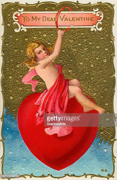 Vintage illustration of a Valentine's Day cherub sitting on a heart chromolithograph 1904