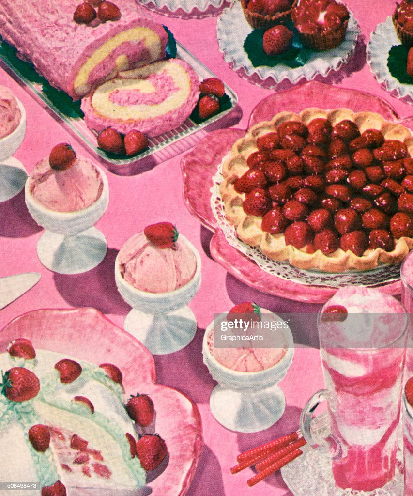 Vintage illustration of a variety of strawberry desserts, including strawberry cream pie, strawberry milkshake, strawberry ice cream, strawberry pie, and strawberry cake roll, 1956. Screen print.