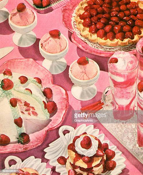 Vintage illustration of a variety of strawberry desserts including strawberry shortcake strawberry cream pie strawberry milkshake strawberry ice...