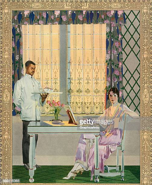 Vintage illustration of a very wealthy woman being served breakfast by a servant in a finelyappointed mansion lithograph 1919