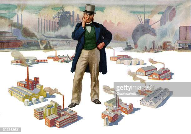 Vintage illustration of a wealthy oligarch looming over the factories and distribution centers of his manufacturing empire; lithograph, 1945.