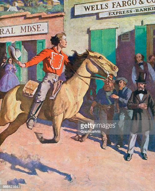 Vintage illustration of a Wells Fargo Pony Express rider in the American West in 1860 screen print 1925
