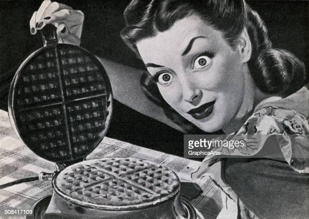 Vintage illustration of a wideeyed housewifewith a waffle in a waffle iron 1946 Screen print
