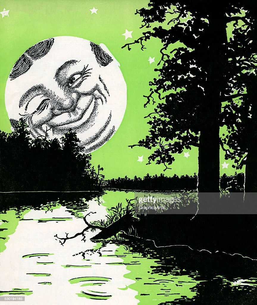 Moon Man And River Landscape : News Photo