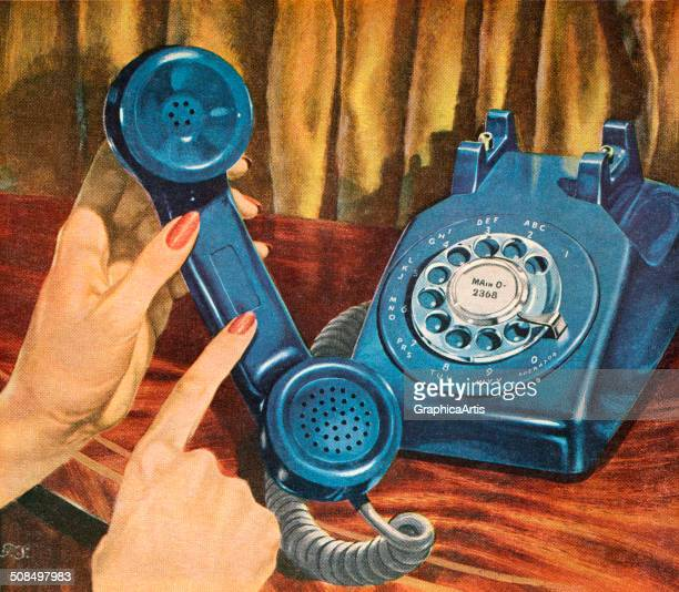 Vintage illustration of a woman's hand holding the receiver of a blue rotary telephone 1956 Screen print