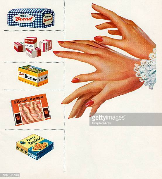 Vintage illustration of a woman's hand wavering as she chooses between a variety of food items 1951