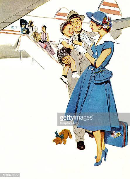 Vintage illustration of a young American family deplaning from a commercial passenger jet screen print circa 1950