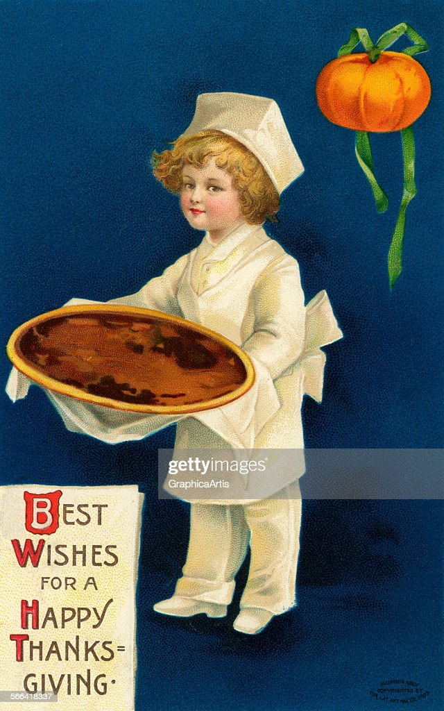 Vintage Illustration Of A Young Chef Holding Thanksgiving Pumpkin Pie By Ellen H Clapsaddle