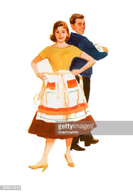 Vintage illustration of a young couple cleaning up after a party; screen print, 1959.