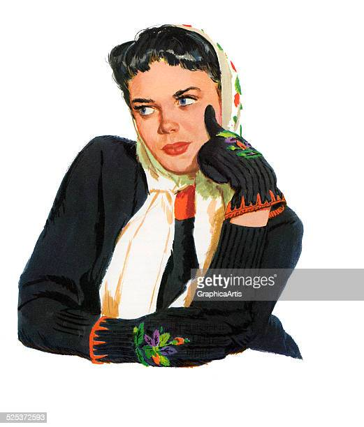 Vintage illustration of a young woman in a sweater and mittens in a coy pose with her hand to her face lithograph 1957