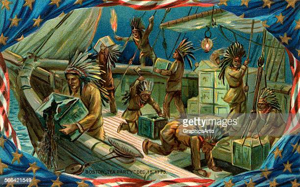 Vintage illustration of American patriots dressed as indians pouring tea over the sides of a British ship chromolithograph 1898