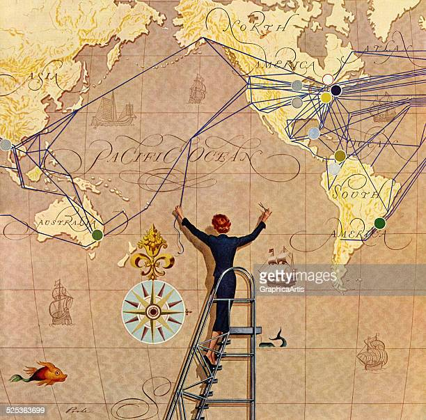Vintage illustration of an air traffic controller plotting flight routes on a large map of the world screen print 1952