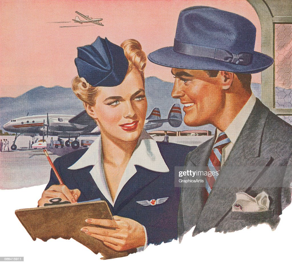 Vintage illustration of an airline attendant checking a businessman in at the airport; screen print, 1949.