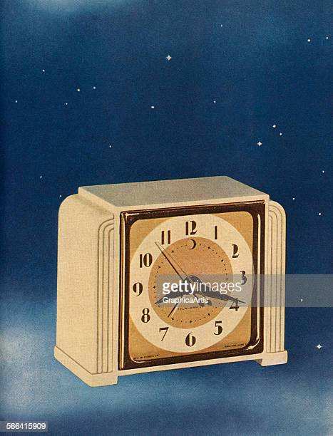 Vintage illustration of an alarm clock floating in the night sky screen print 1946