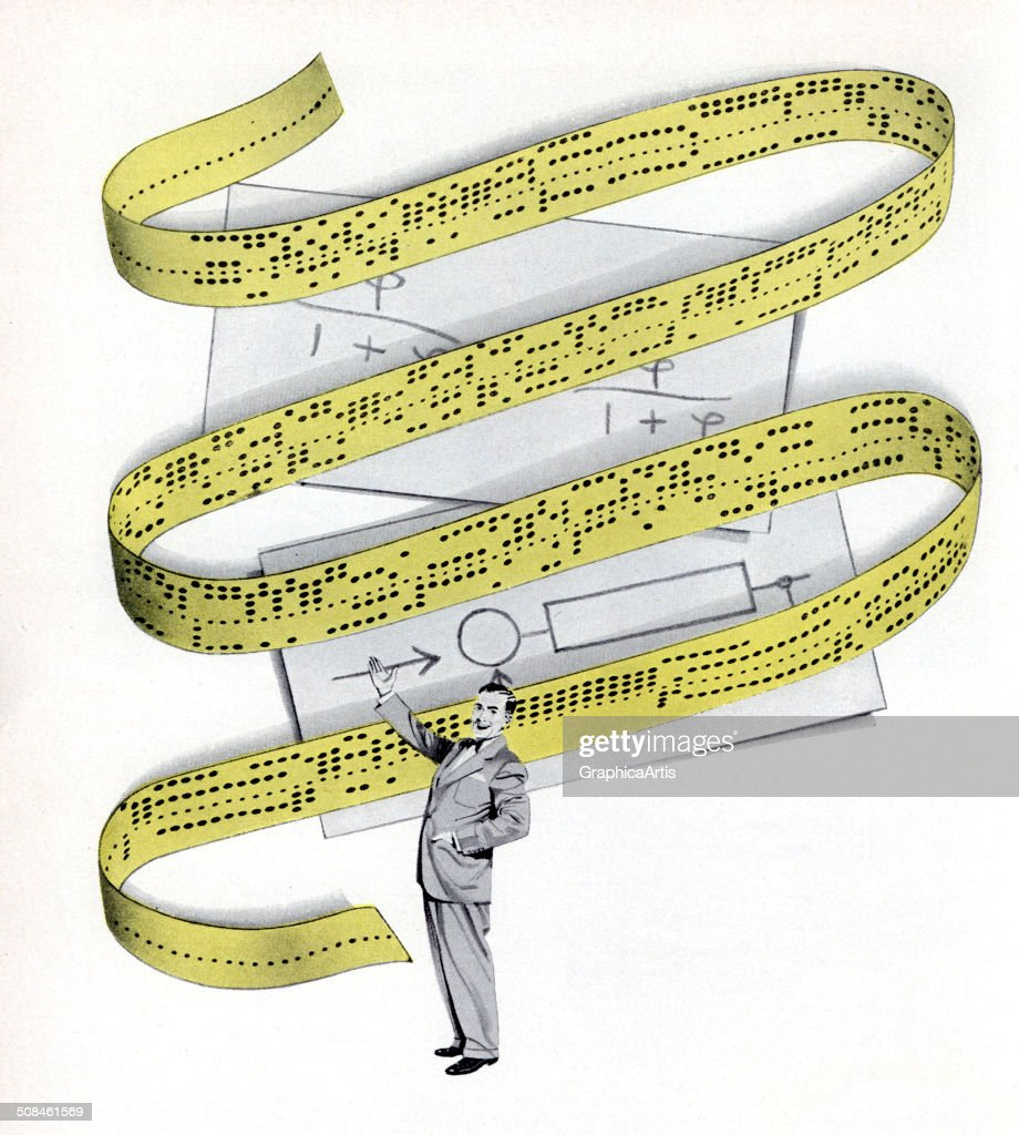 Vintage illustration of an American businessman gesturing towards a giant ribbon of eight-hole punched yellow computer tape, 1952. The tape was an early form of computerized data storage used for teleprinters and minicomputers. Screen print.