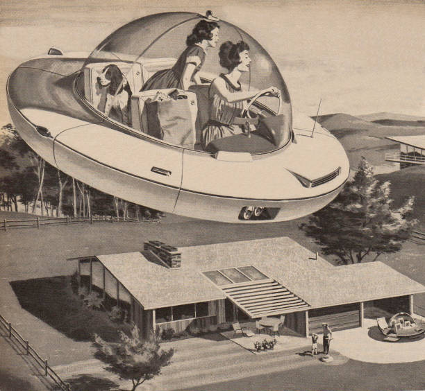 Woman Driving Flying Saucer Wall Art