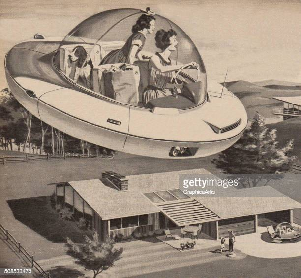 Vintage illustration of an American mother and daughter arriving home from shopping in a futuristic spaceship 1950s